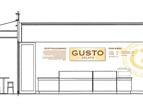 Gusto Gelato Shop interior design