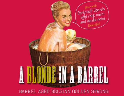 A Blonde In A Barrel beer label